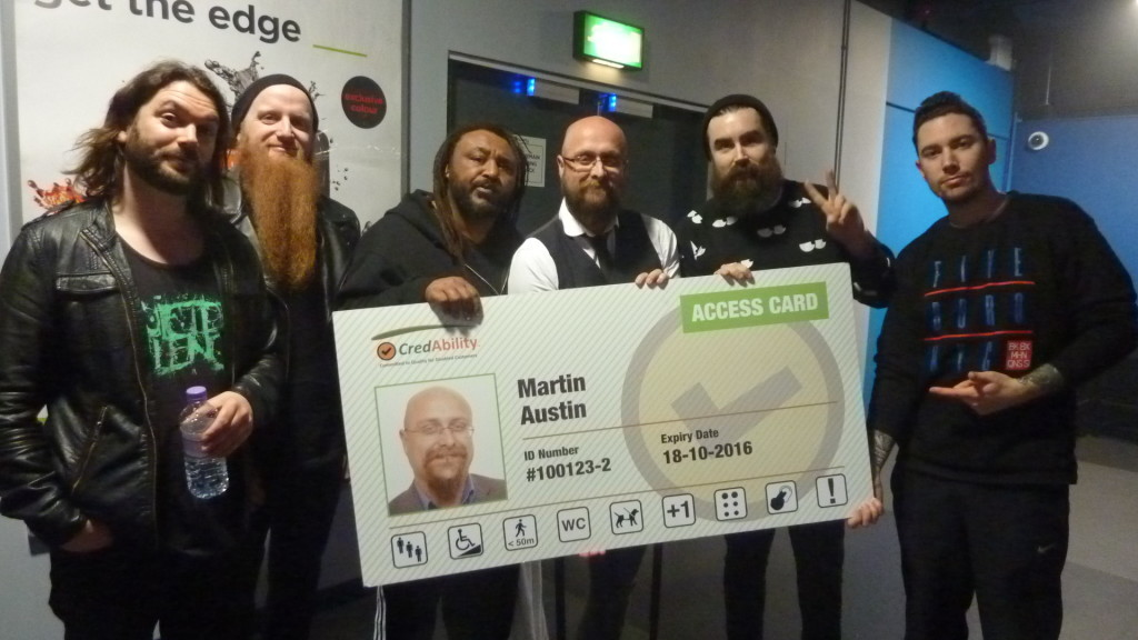 metal band skindred and martin with the promo access card