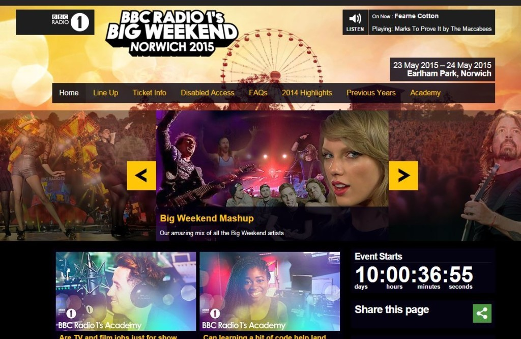 screenshot from the big weekend website