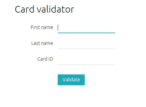 screenshot of the card validator entry point