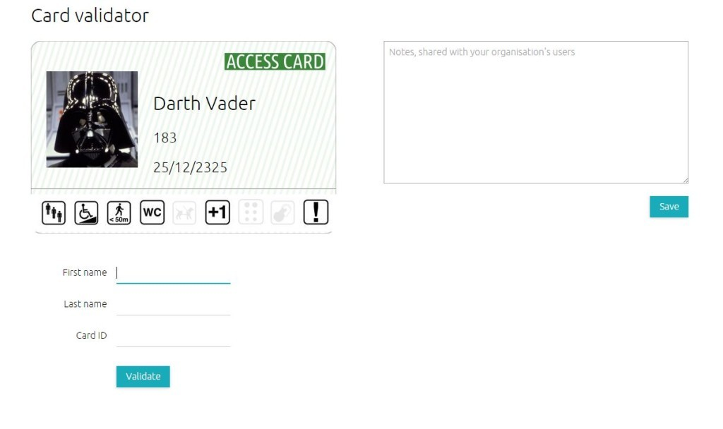 screen shot detailed a screen based version of  an Access Card: in this case Darth Vaders