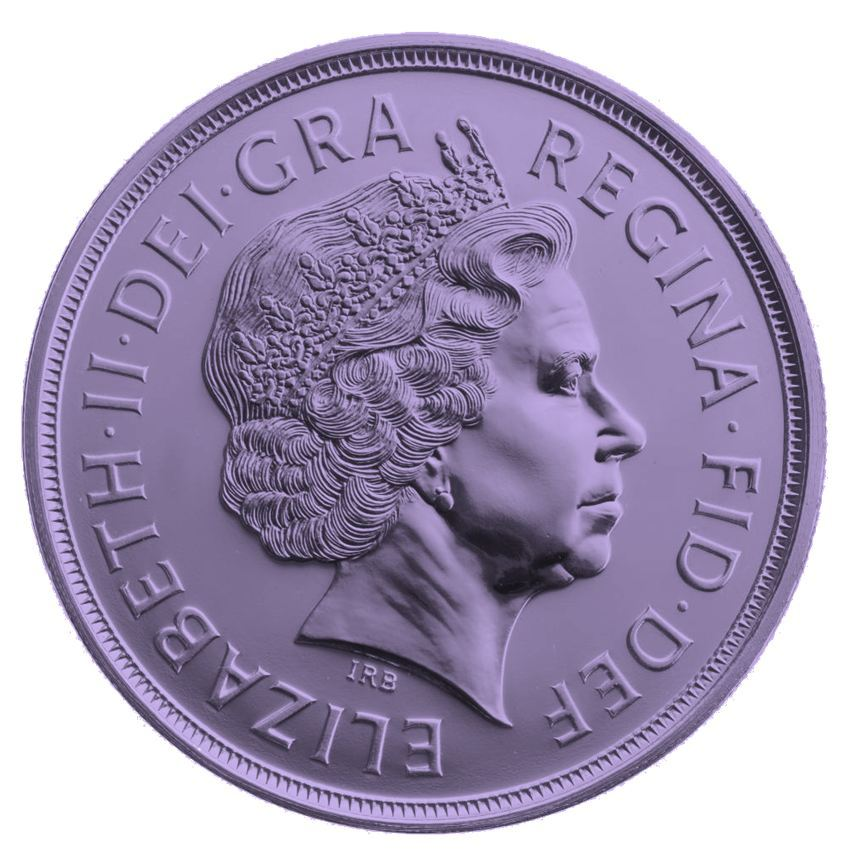 a purple pound coin