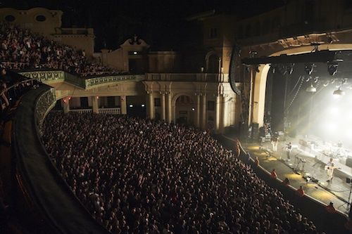 Brixton venue interior crowd and stage view from balcony