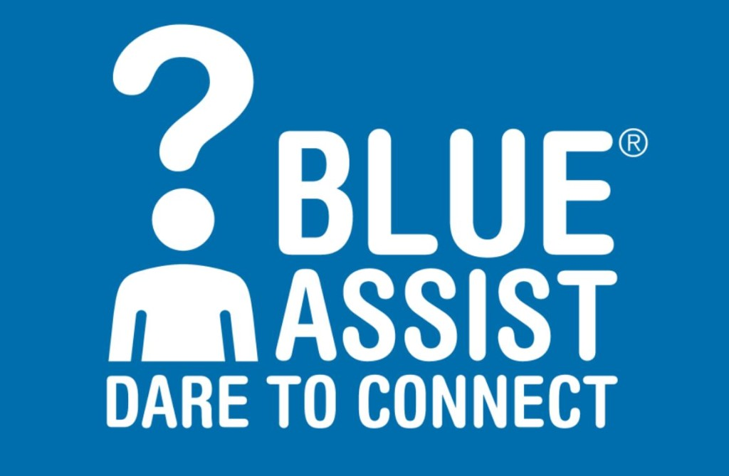 blue assist logo large blue square with white font