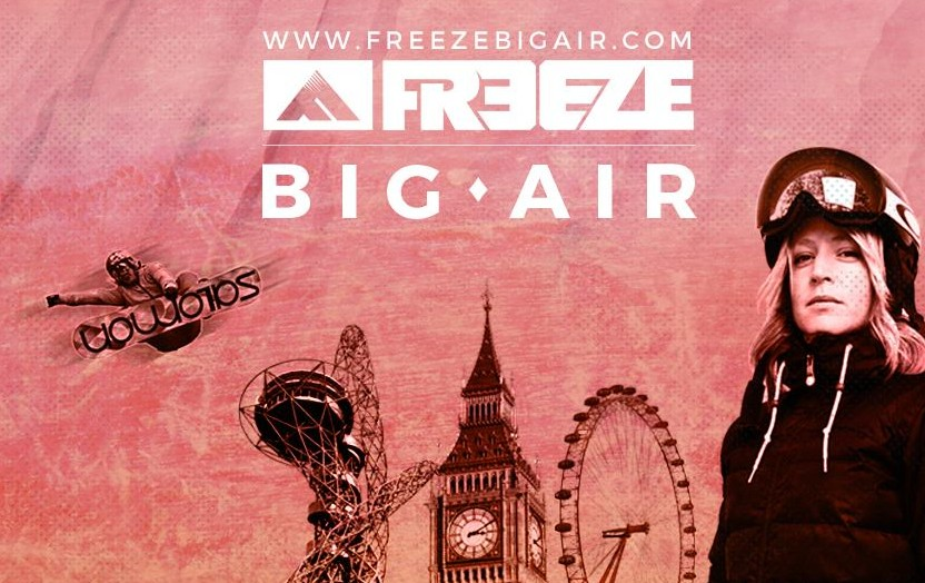 Freeze Big Air Logo with pink banner white text and snowboarder