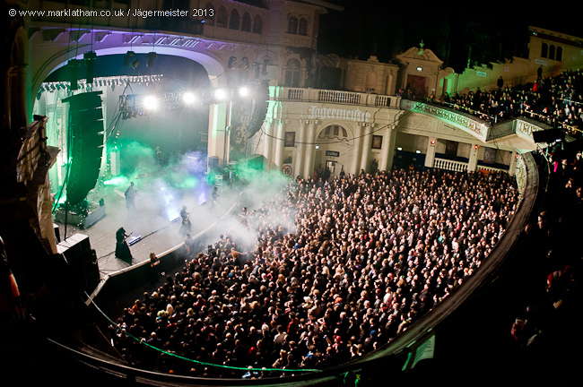interior balcony photo of stage and crowd