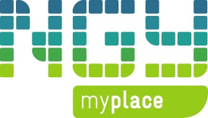 NGY Myplace logo in blue and green font
