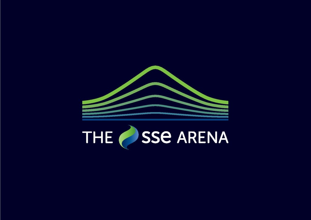 SSE arena logo with blue waves and white text font
