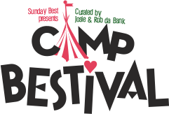 camp bestival logo black font with tent
