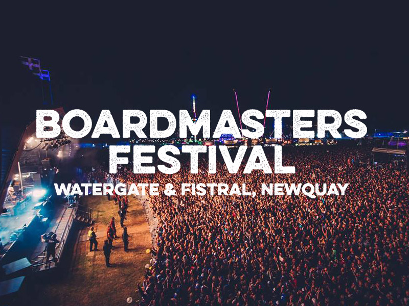 Boardmasters logo large photo with crowd and white text overlay