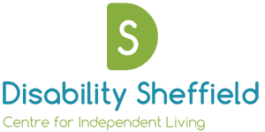 Disability Sheffield logo green and blue