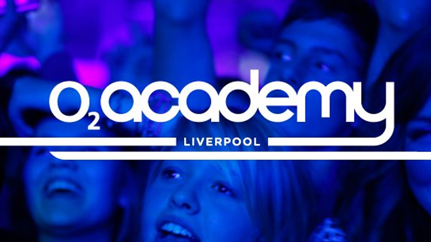 02 academy liverpool logo white text over blue crowd photo