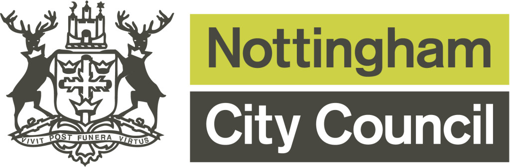 Nottingham City Council Logo with green and white box with white and black font and deer motif