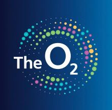The O2 Logo blue background with white font