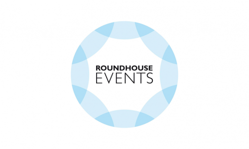 Roundhouse events logo, blue circle with black font and white.