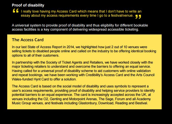 Section of the State of Access Report detailing the Access Card