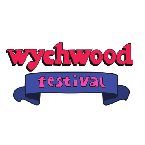wychwood festival logo red font with blue banner