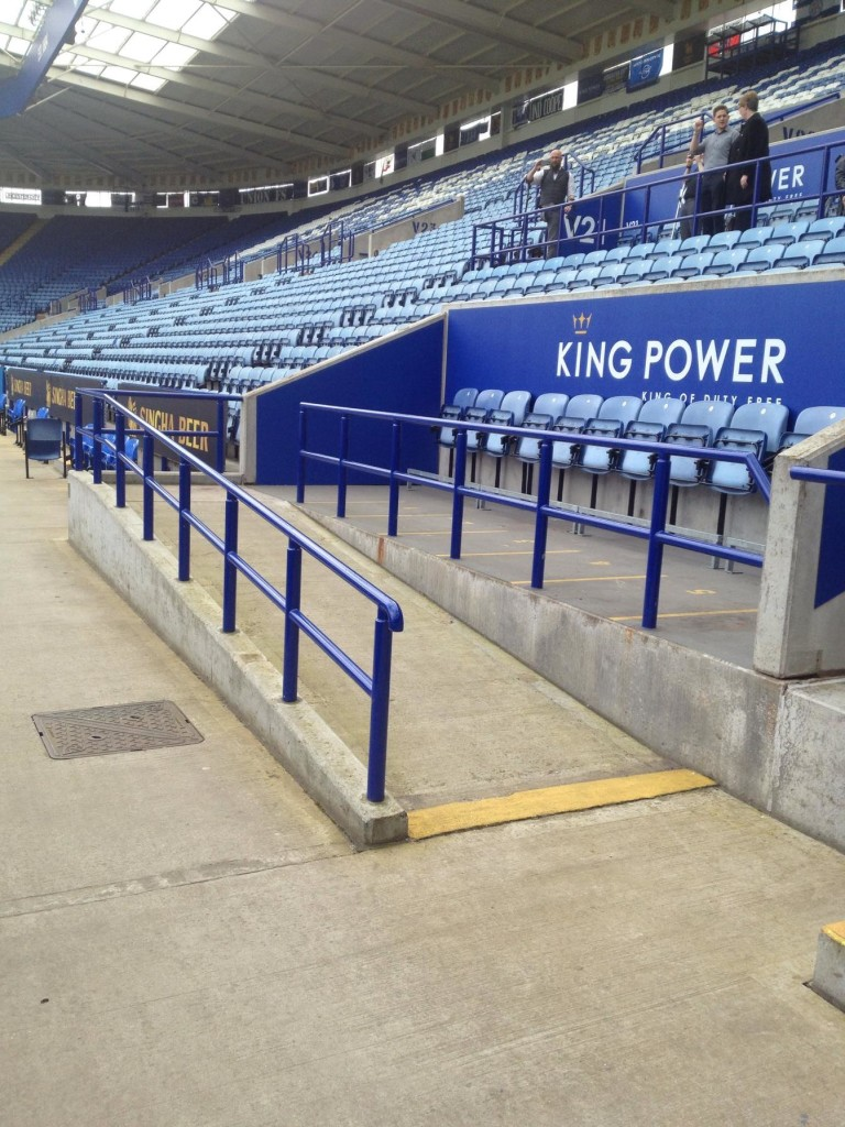 Leicester football stadium ramped access to viewing platform