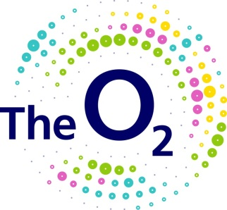 The O2 logo with coloured dots