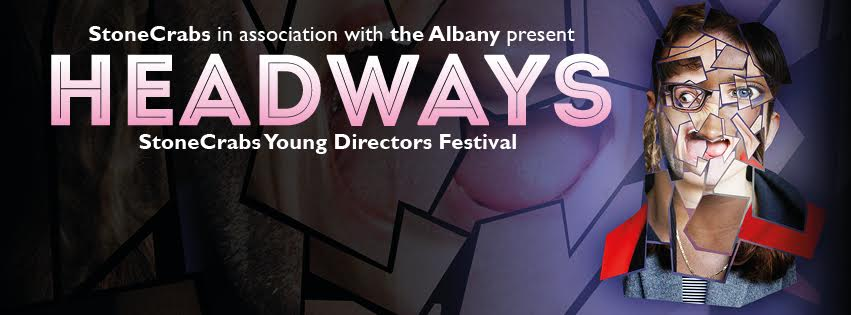 Headways Logo with pink font and abstract face