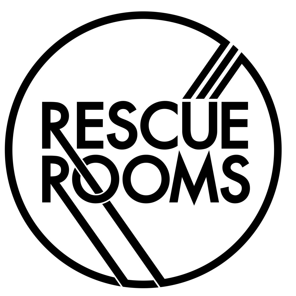 Large circle logo Rescue Rooms Black and White