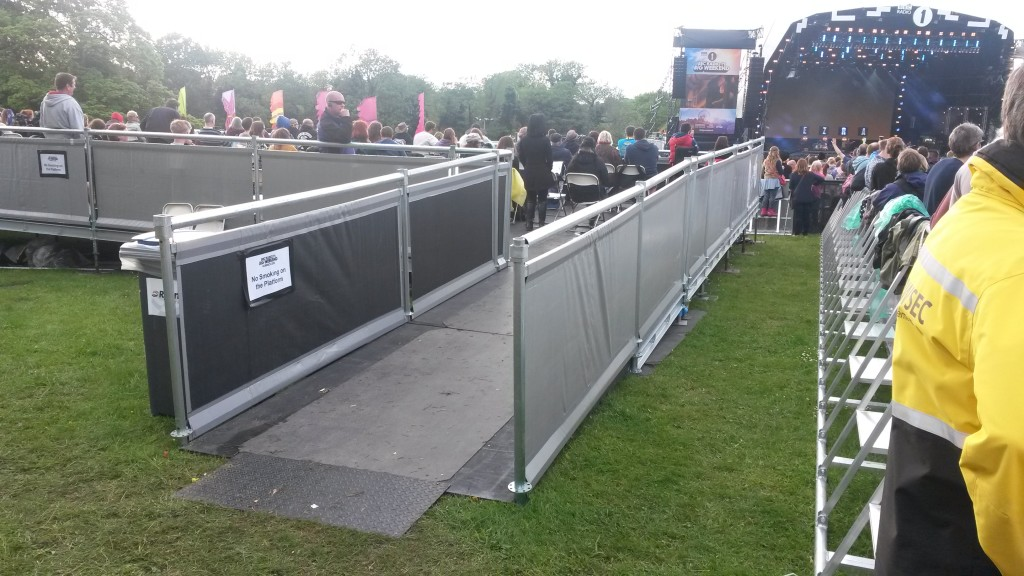 photo of accessible ramp to viewing platform and crowd area