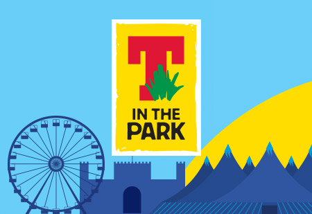 T in the park logo blue and yellow