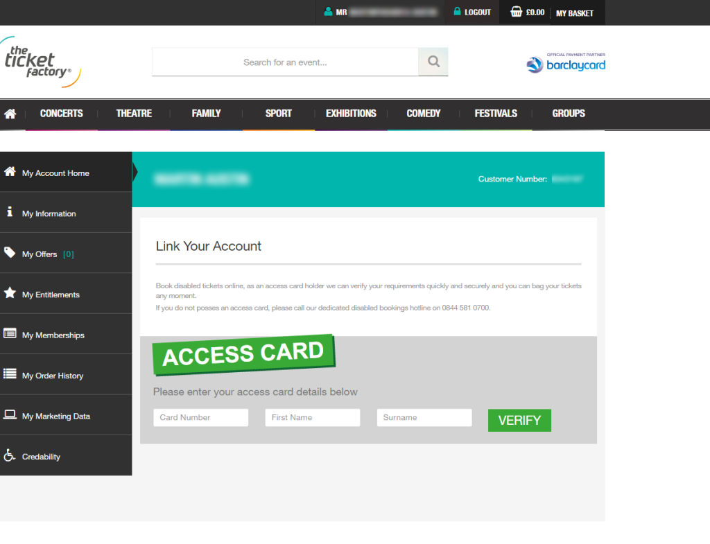 ticket factory access card link screen