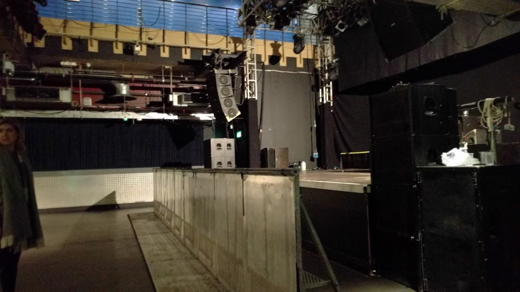 View of the main stage from a viewing area to the side of the stage