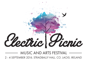 electric picnic logo with black font and colour tree logo