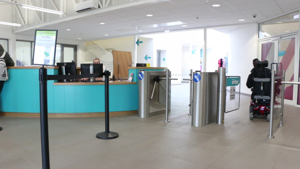 access entry and reception desk