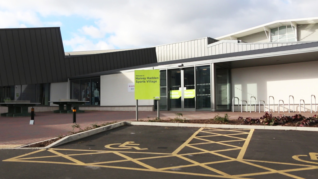 harvey hadden main entrance and accessible parking area