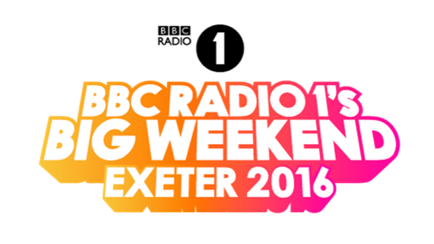 bbc radio 1 big weekend exeter 2016 logo in orange red and prink text background with white font