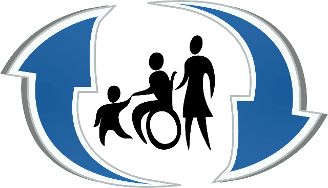 DPACT logo blue arrows with wheelchair user and child