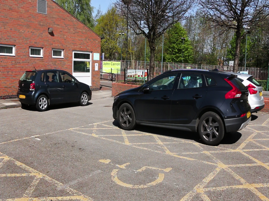 exterior photo of parking bays for venue
