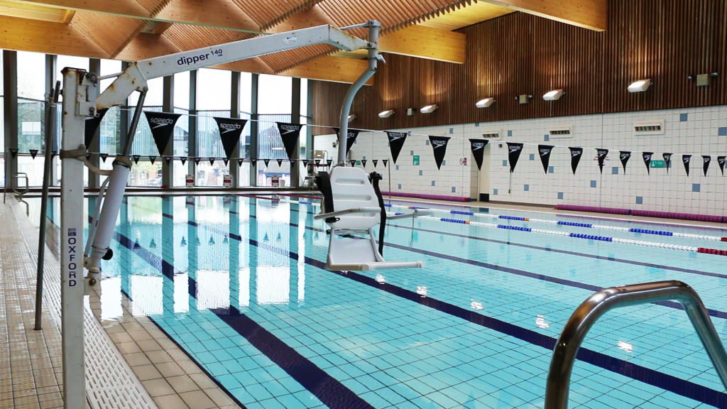 photo of pool hoist at leisure centre.