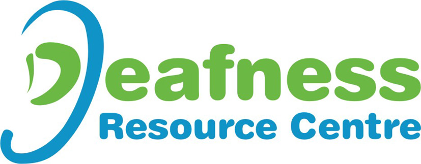 deafness resource centre blue and green large logo