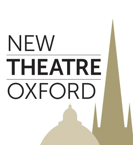 new theatre oxford logo black text grey background buildings