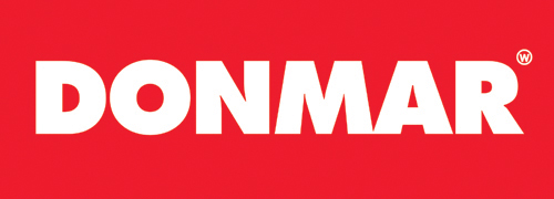 Donmar red and white logo text with red background rectangle.
