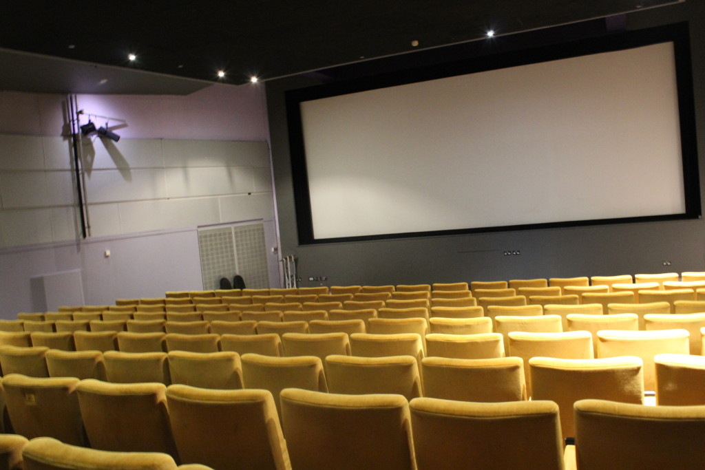 empty interior cinema seating and screen