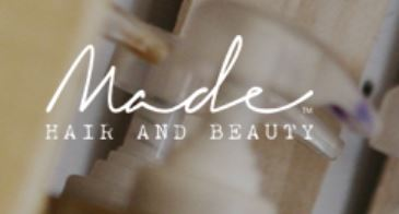 made hair and beauty logo white font