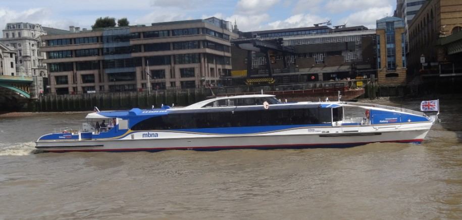 side view of a Thames Clippers boat