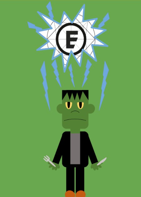 cartoon frankenstein's monster and elements tea and coffee limited logo