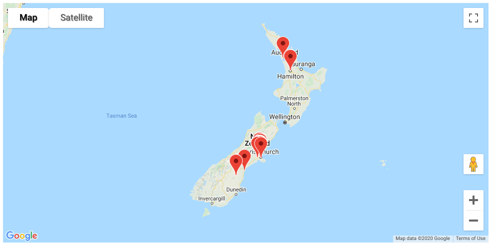 A map of New Zealand with pins in representing the organisations adisabled person can use their Access Card