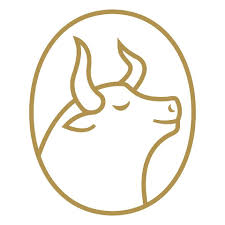 coffee culture logo light brown outline of a bulls head