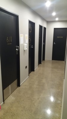 the accessible toilets at black and white coffee cartel