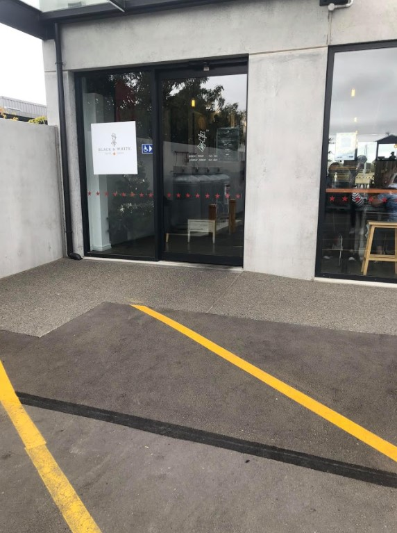 accessible parking at black and white coffee cartel rolleston