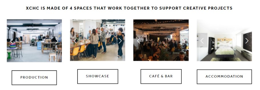 4 spaces offered by xchc production showcase cafe and bar and accomodation