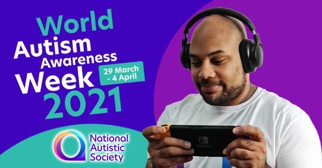 world autism awareness week 2021 text on blue and purple background with man playing on a nintendo switch