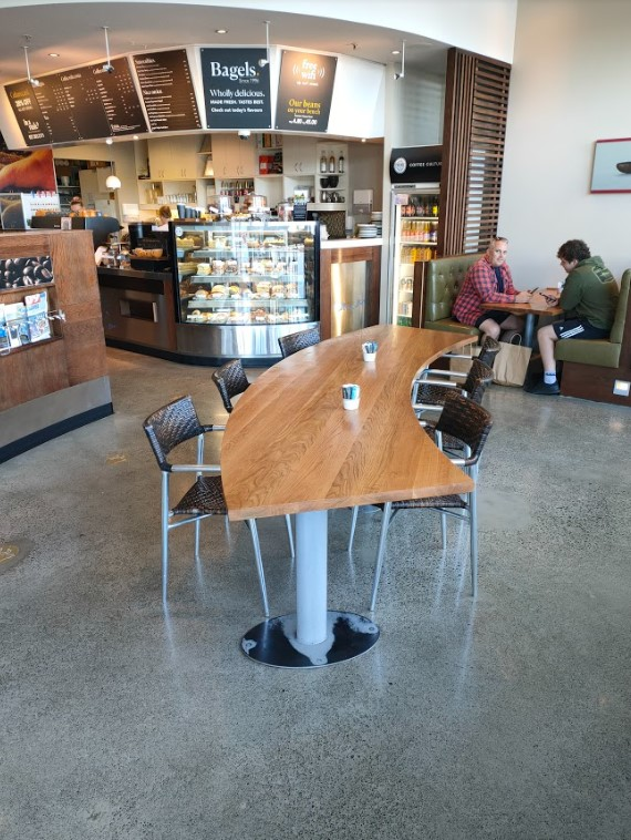 stand alone accessible table with counter in background