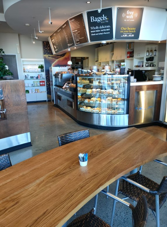 cafe food counter and seating area